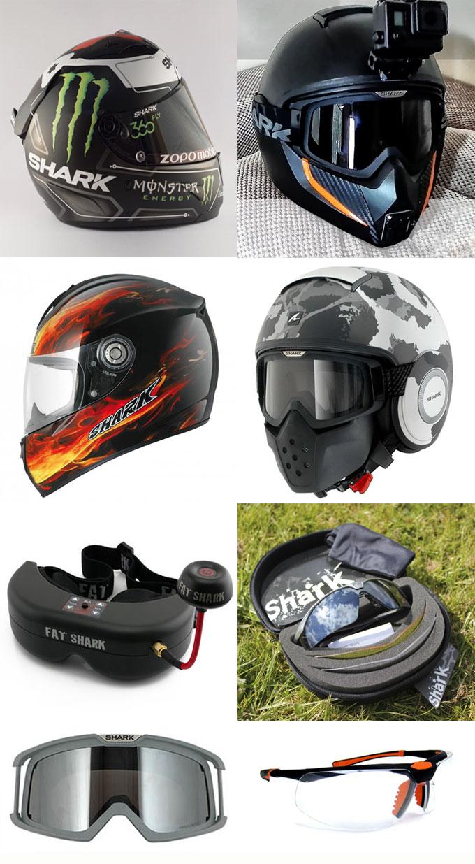 Фотографии шлемов и очков Shark
