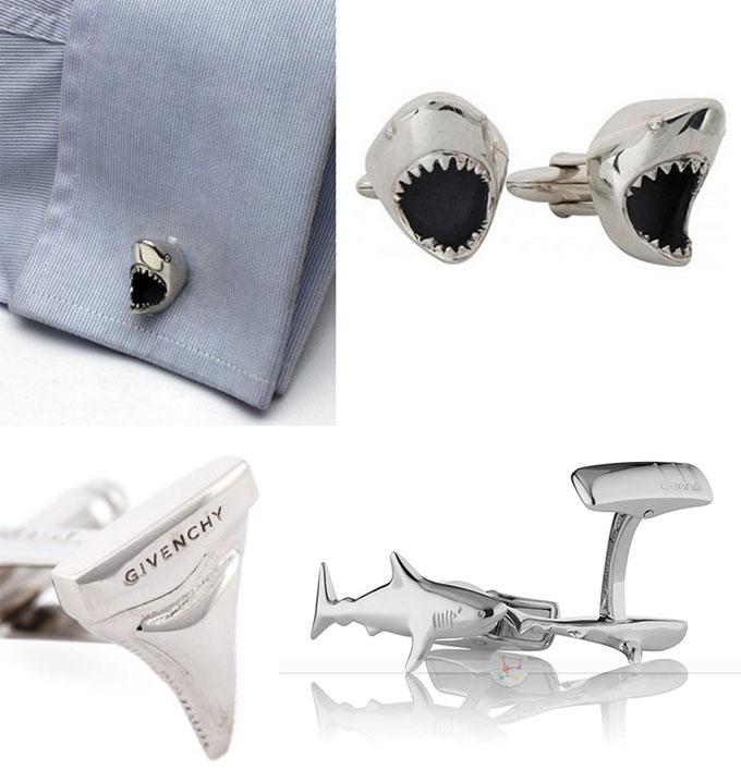 Фотографии запонок-украшений в виде акул