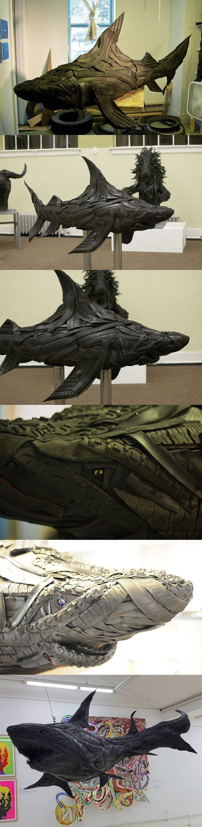 Арт-скульптуры акулы из автомобильных шин