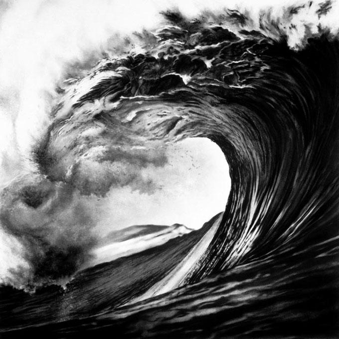 Рисунок водной стихии волны угольным карандашом