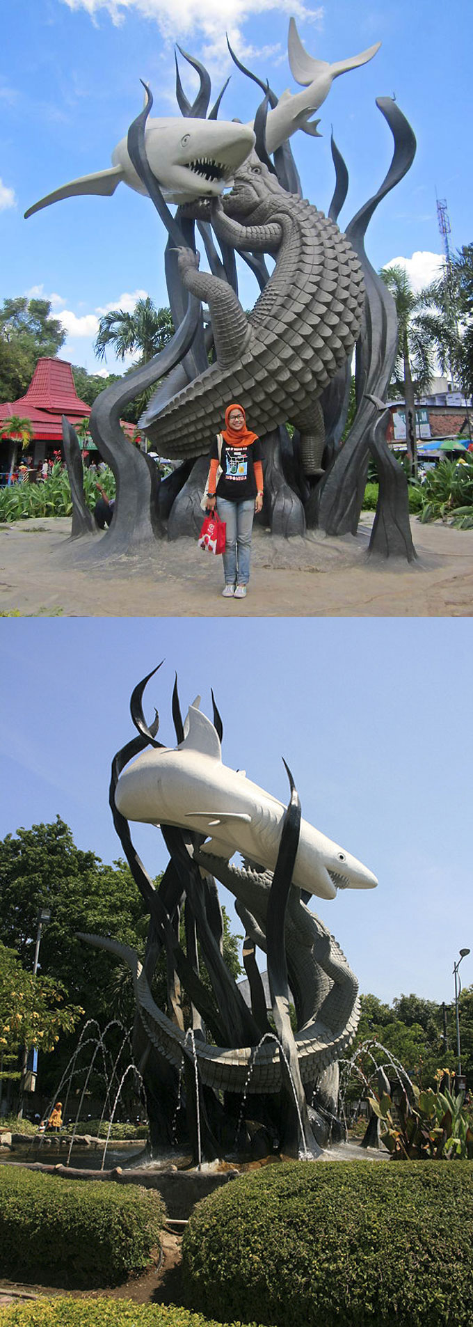 Скульптура с акулой и крокодилом в Сурабае