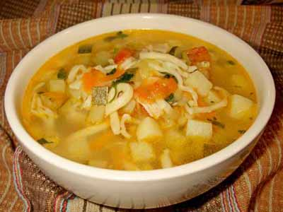 Рецепт - Рыбный суп с цукини и вином