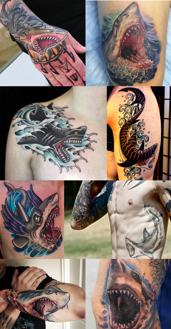 Татуировки злой акулы с раскрытой пастью