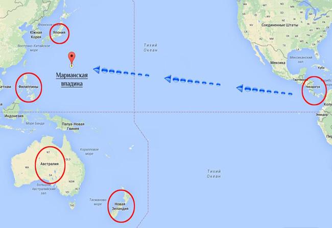 Карта Марианской впадины