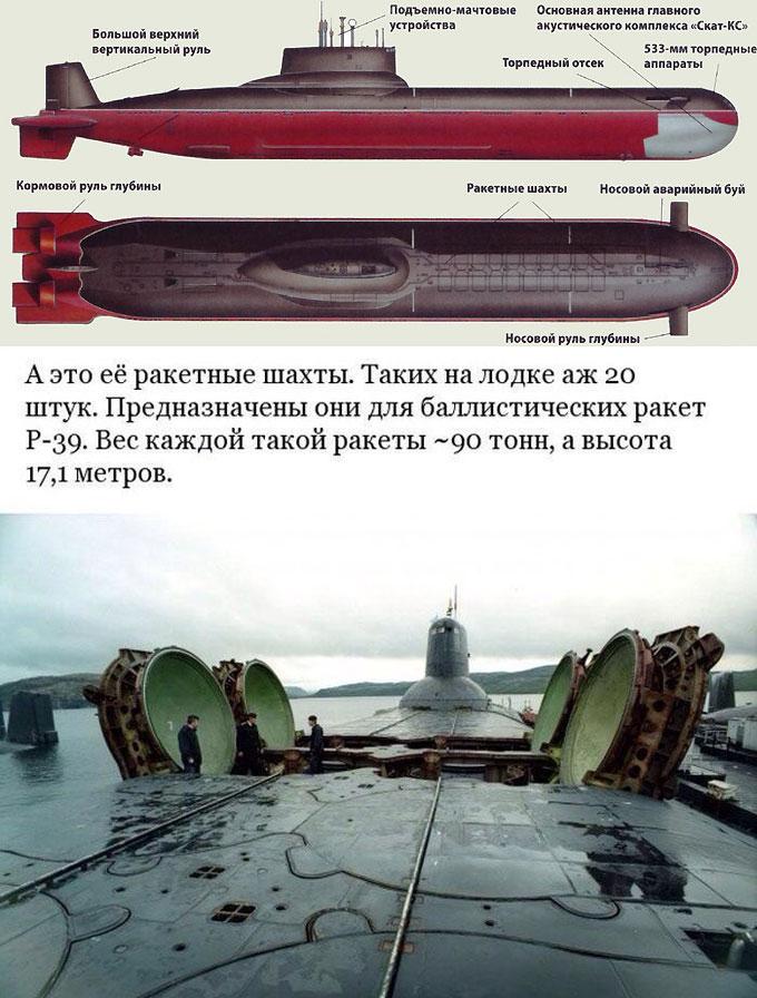 Схема и вооружение атомной подводной лодки Акула