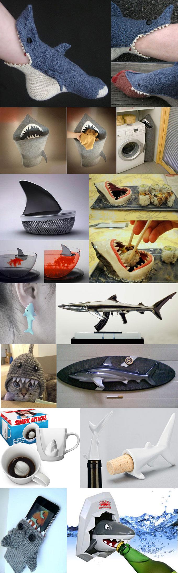 Фотографии прикольных и креативных вещей в виде акул
