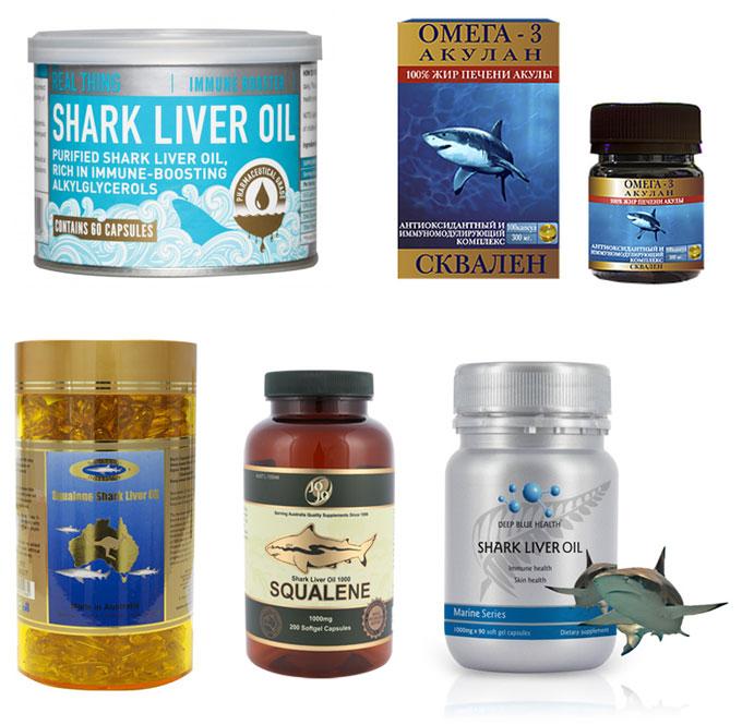 Лекарства и БАДы c жиром печени акулы и скваленом