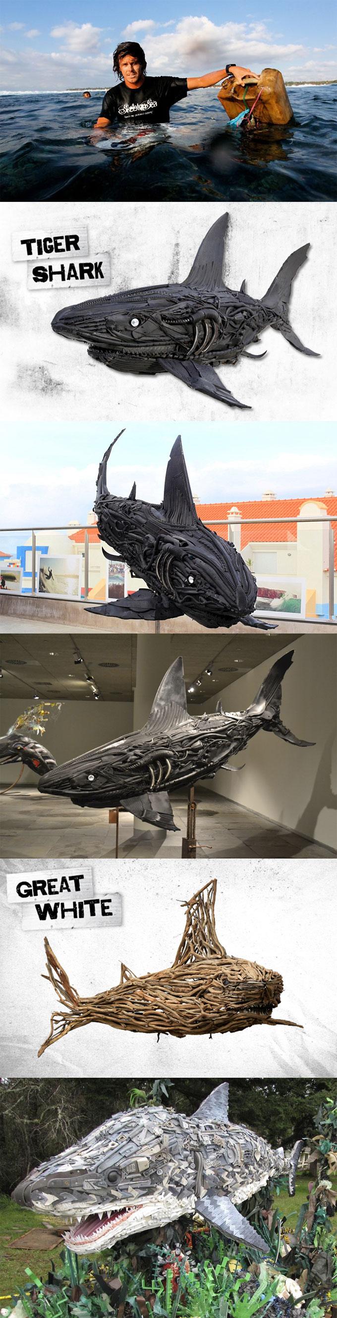 Композиции акул из морского мусора