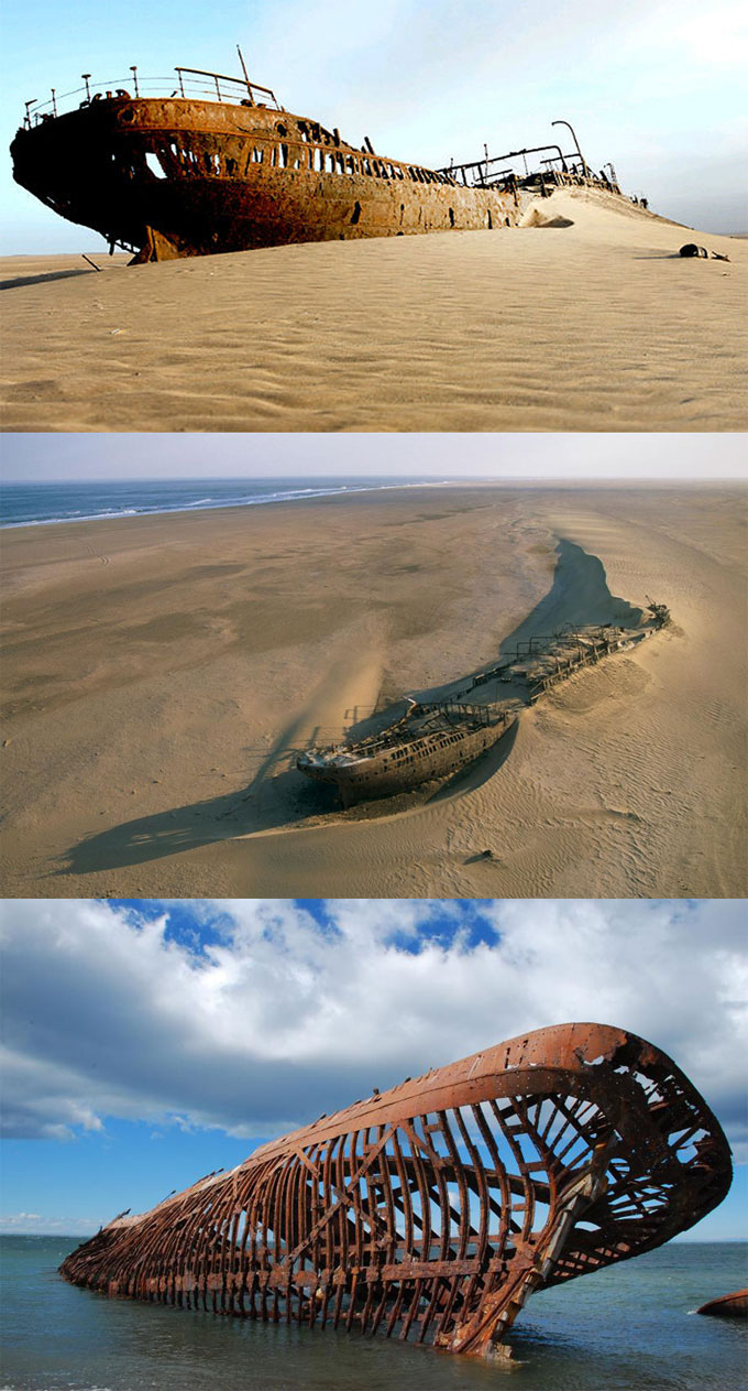 Берег Скелетов в Намибии - затонувшие корабли