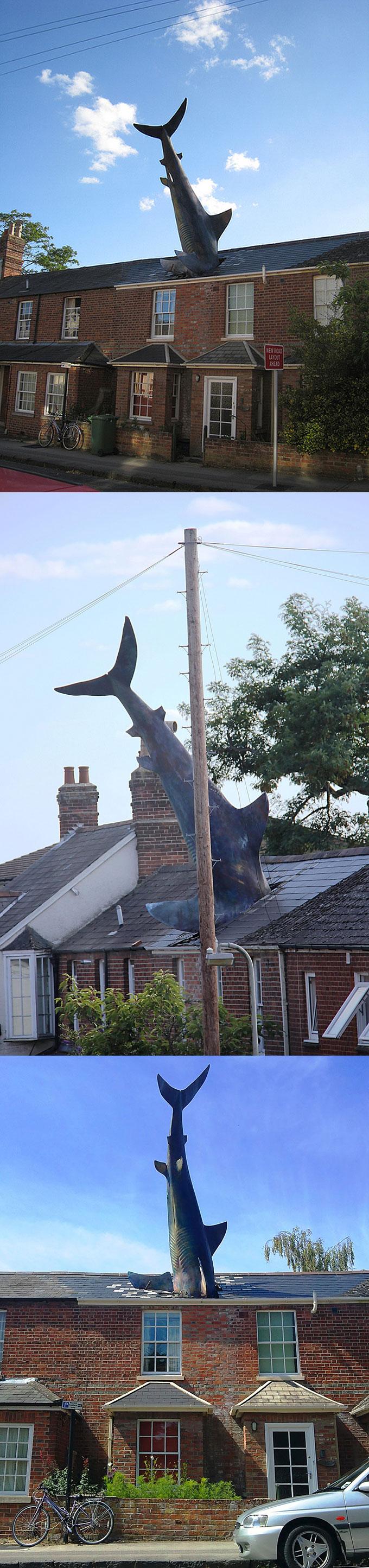Памятник с акулой торчащей из крыши дома в Англии