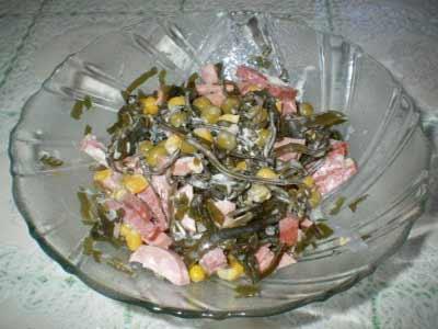 Рецепт - Салат Морской из акулы с морской капустой