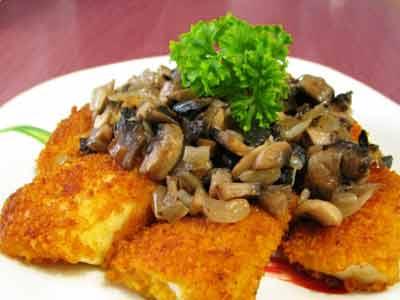 Рецепт - Акула под грибным соусом