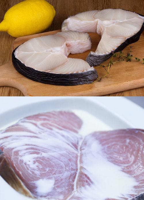 Вымачивание мяса акулы в молоке и лимонном соке