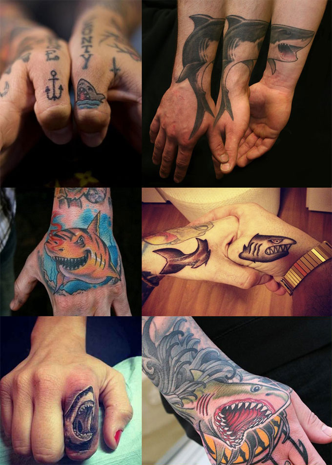Фотография татуировки акулы на руке