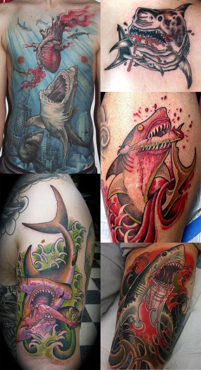 Татуировки с кровожадными акулами