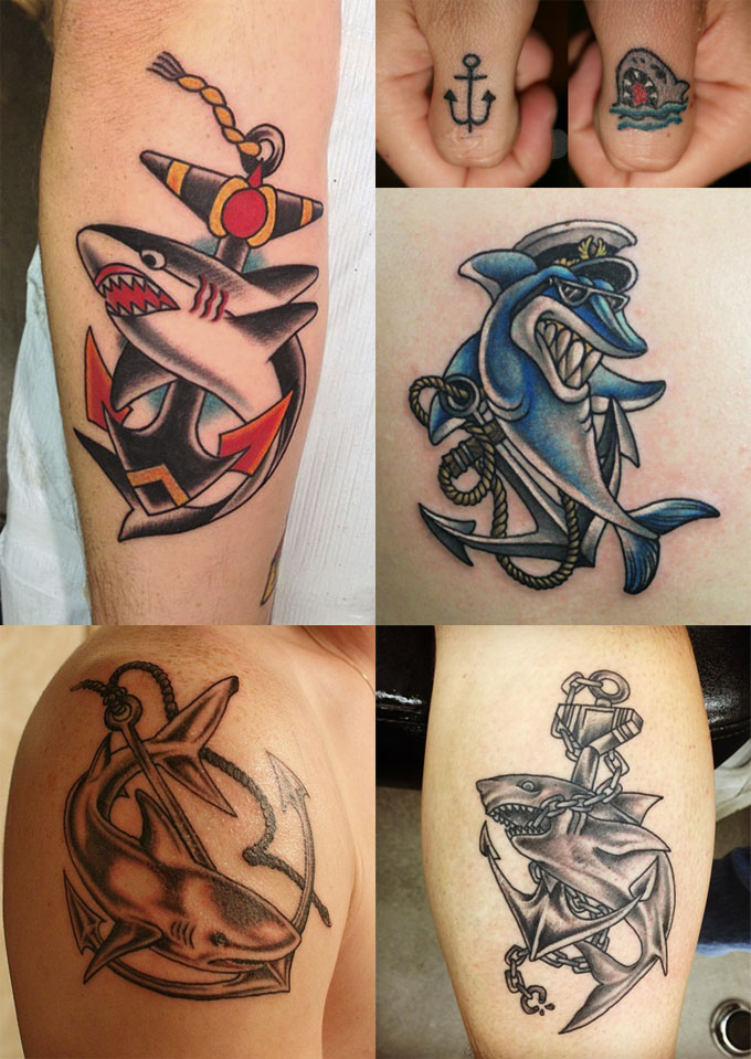 Татуировки акулы и якоря